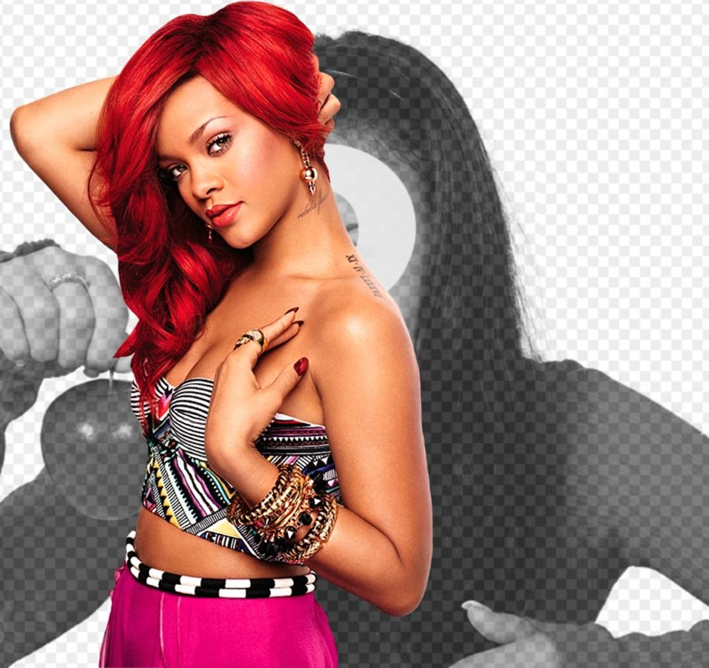 Photomontage of Rihanna with blood red hair, looking straight into the camera with intensity