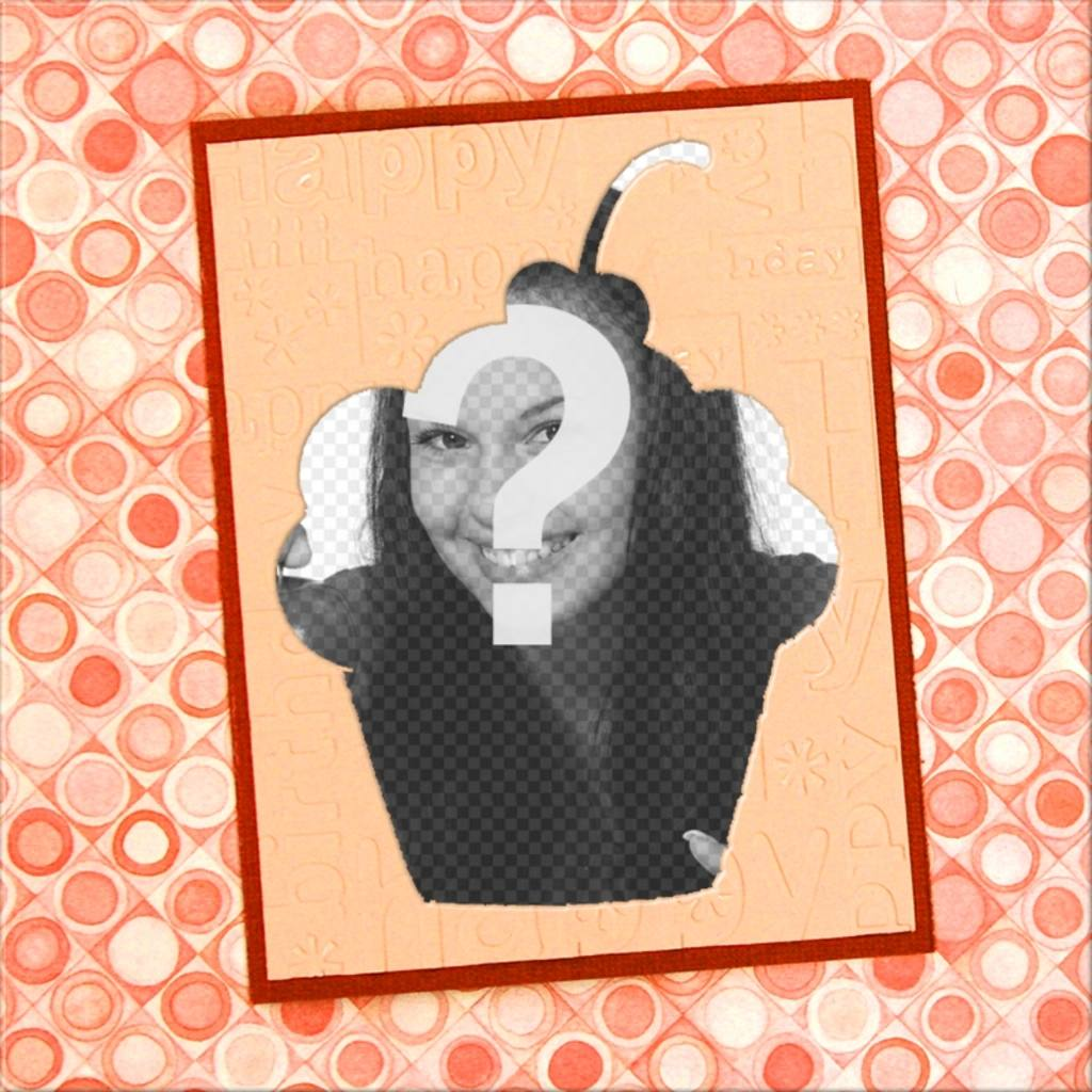 Cupcake-shaped frame with a vintage background