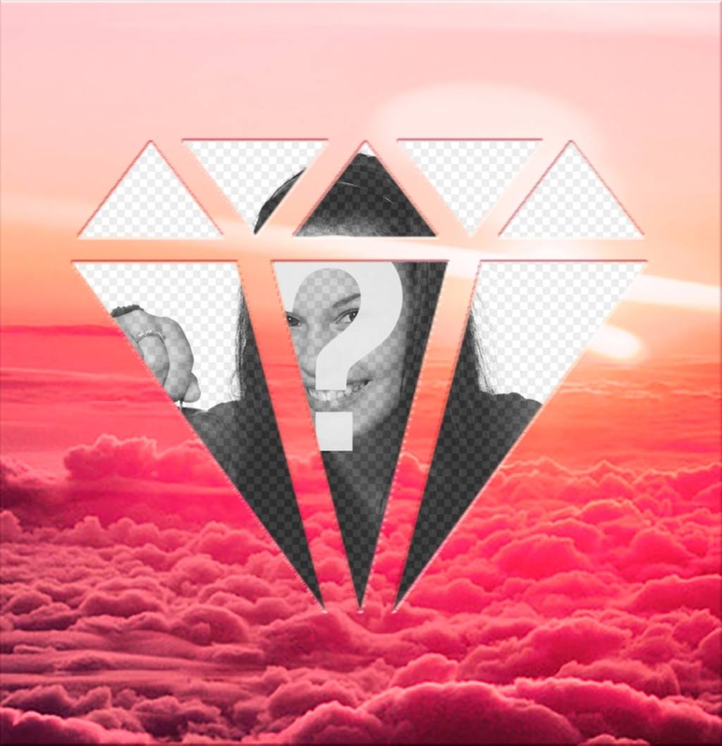 Photomontage around pink clouds to place your photo in diamond shape