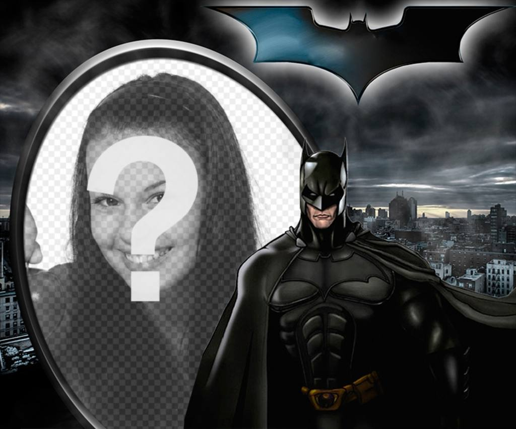 Illustrated collage about Batman, the Dark Knight, silhouetted against Gotham