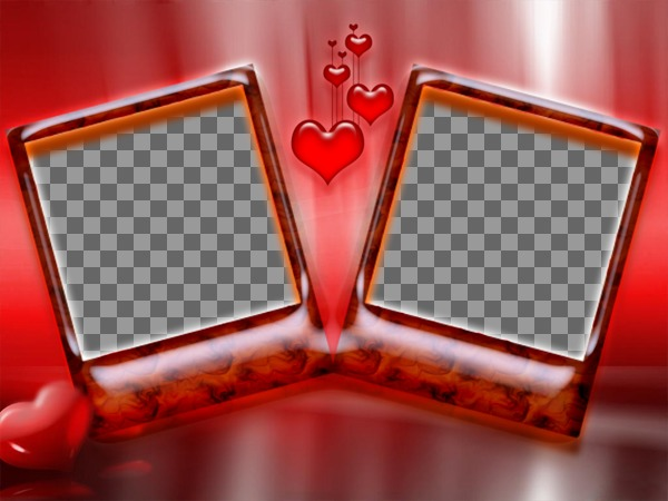 Frame for two photos with red background and hearts. Ideal for lovers on Valentines Day. Very elegant