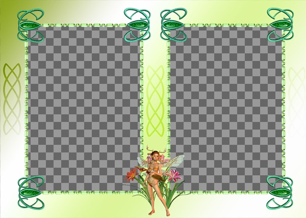 Photo frame with two photos, fairy ornament and green background