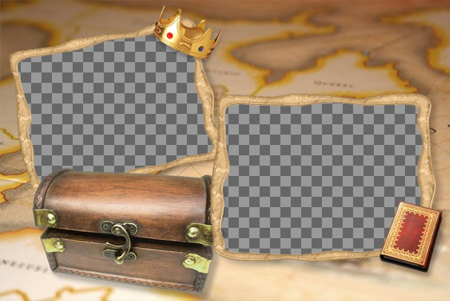 Picture frame treasure chest with a background map