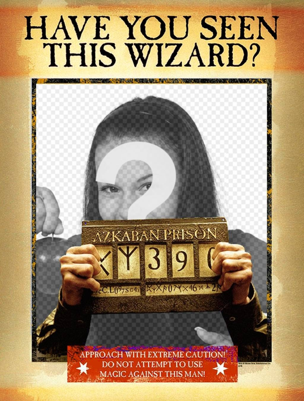 "Montage of a ""WANTED"" poster in wizard version"