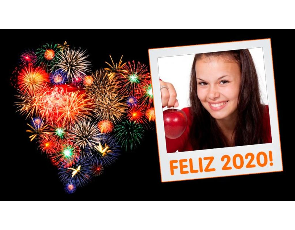 Frame for new year 2018 photos with a polaroid