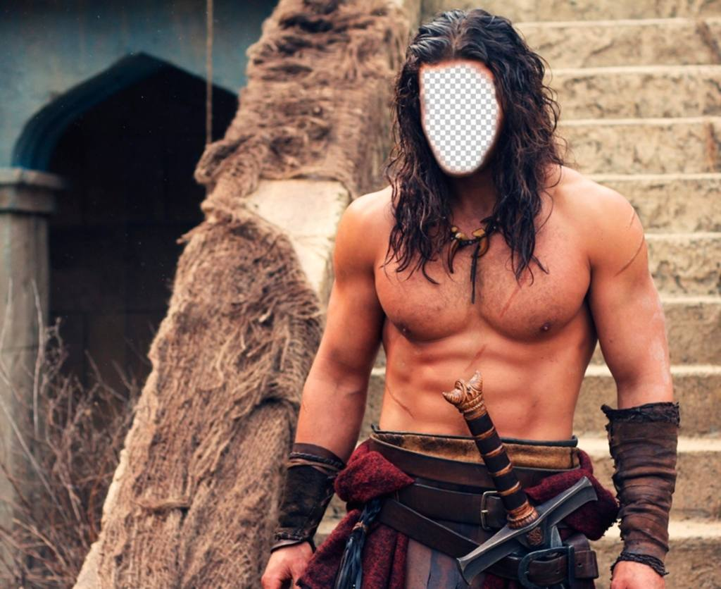 Your face on the body of Jason Momoa in Conan the Barbarian