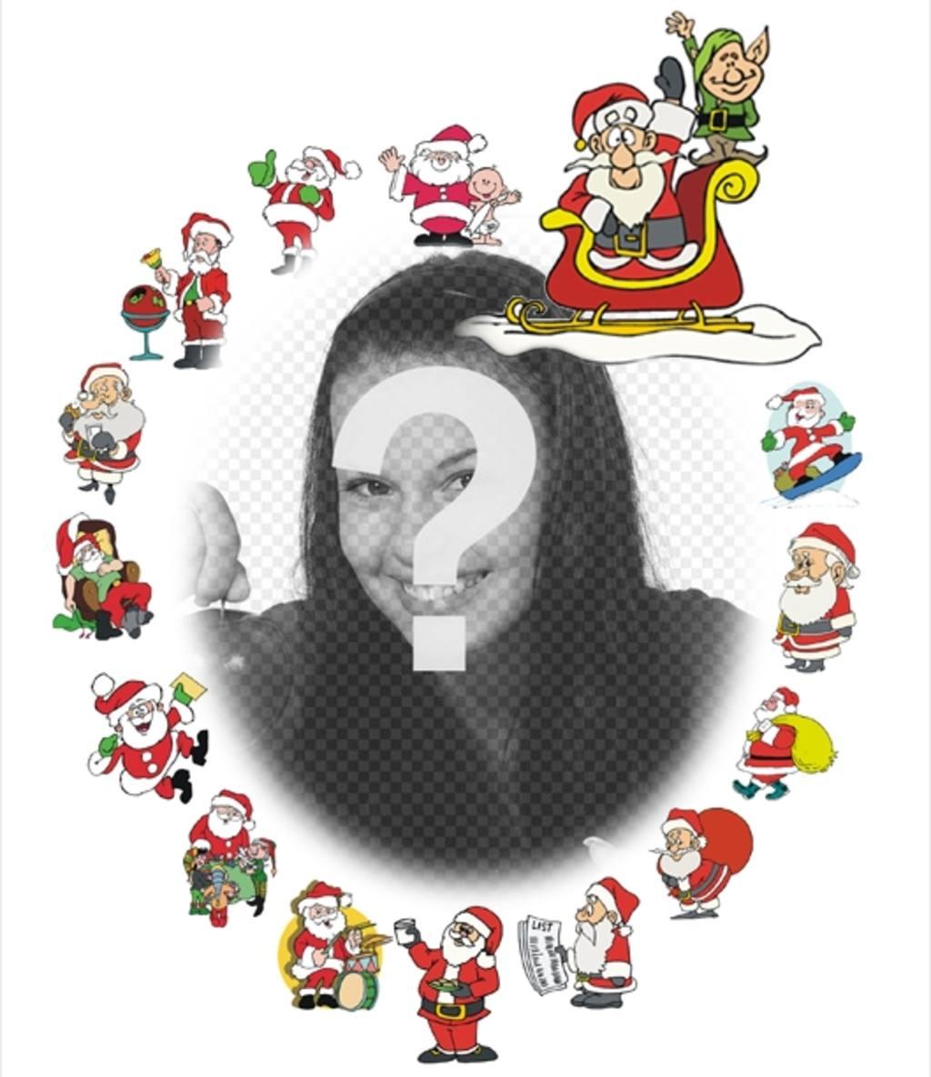 Nice frame with various Santa Claus to decorate photos
