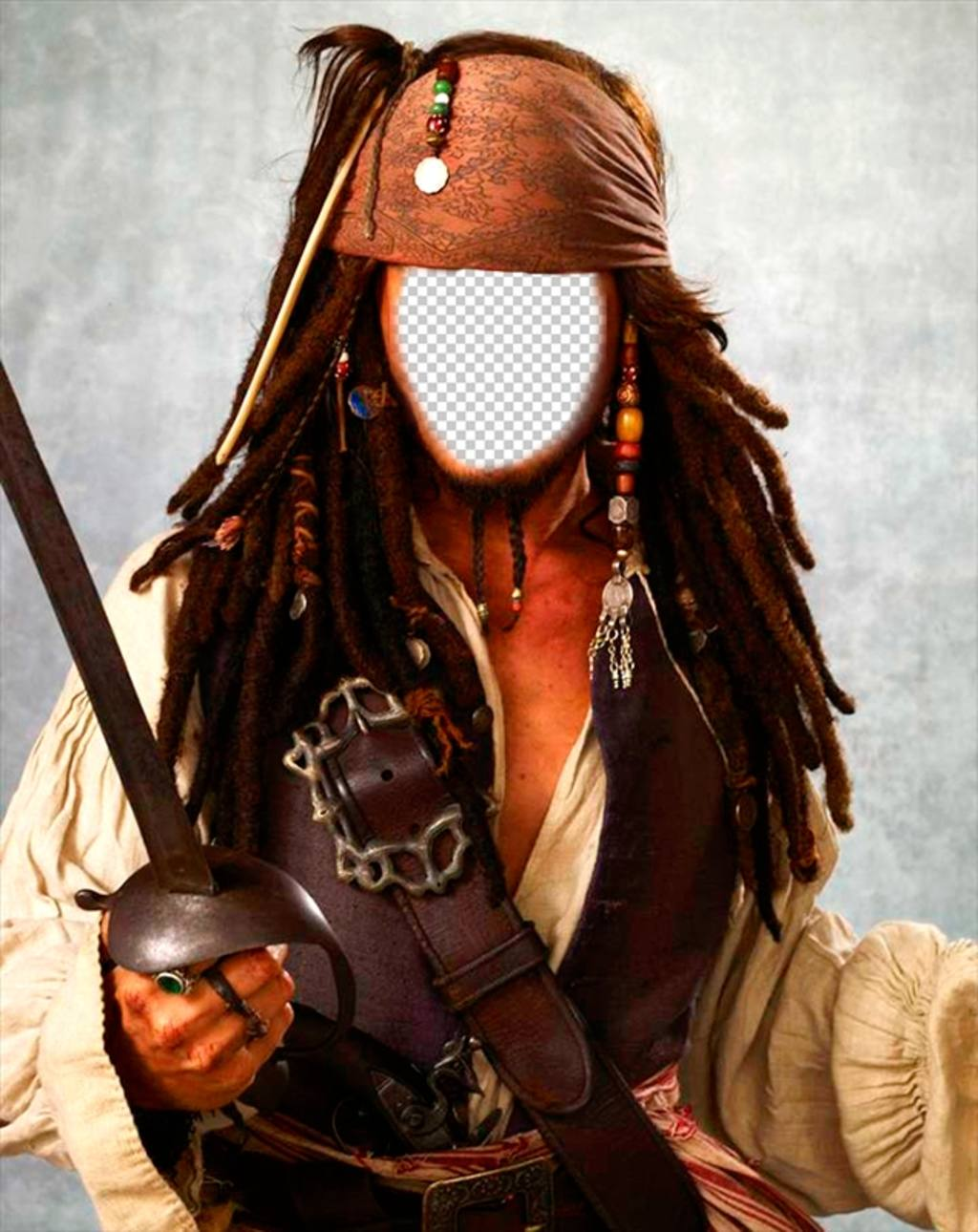 Face in hole of Captain Jack Sparrow
