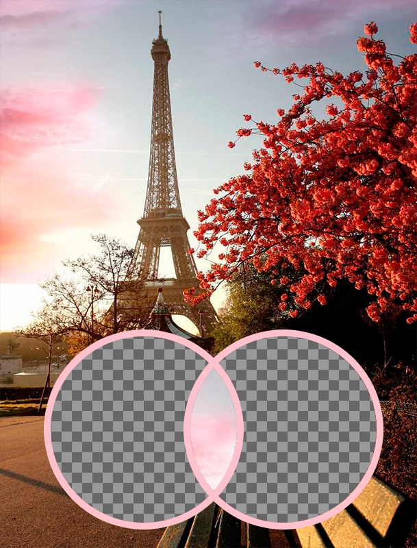 Romantic photomontage with the Eiffel Tower
