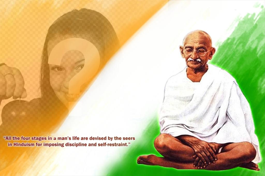 Photomontage with Gandhi and a quote