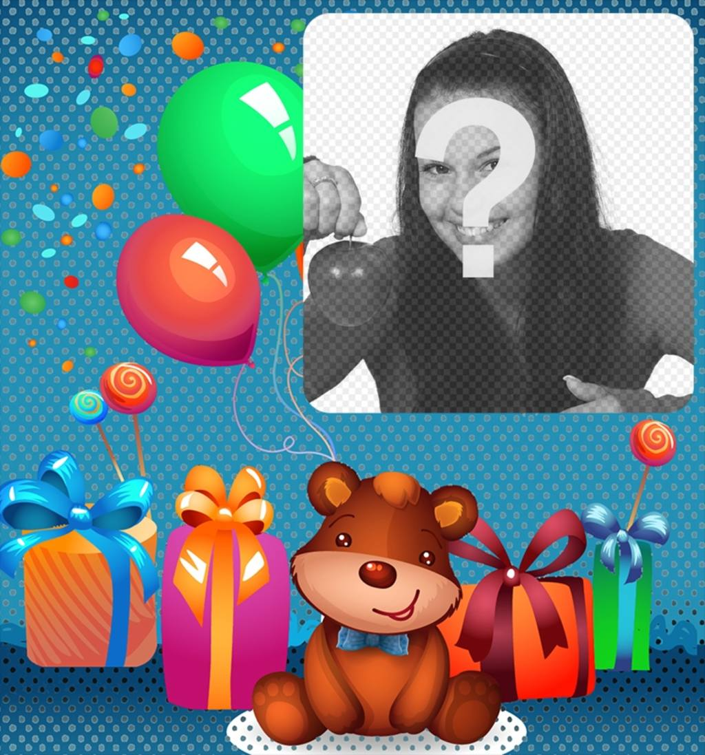 "Children""s birthday eCard with a teddy bear"