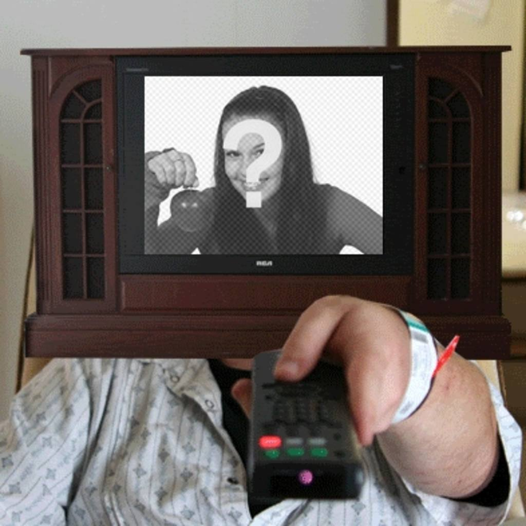 Animation to make your own photo, in which a television serras turns off and on