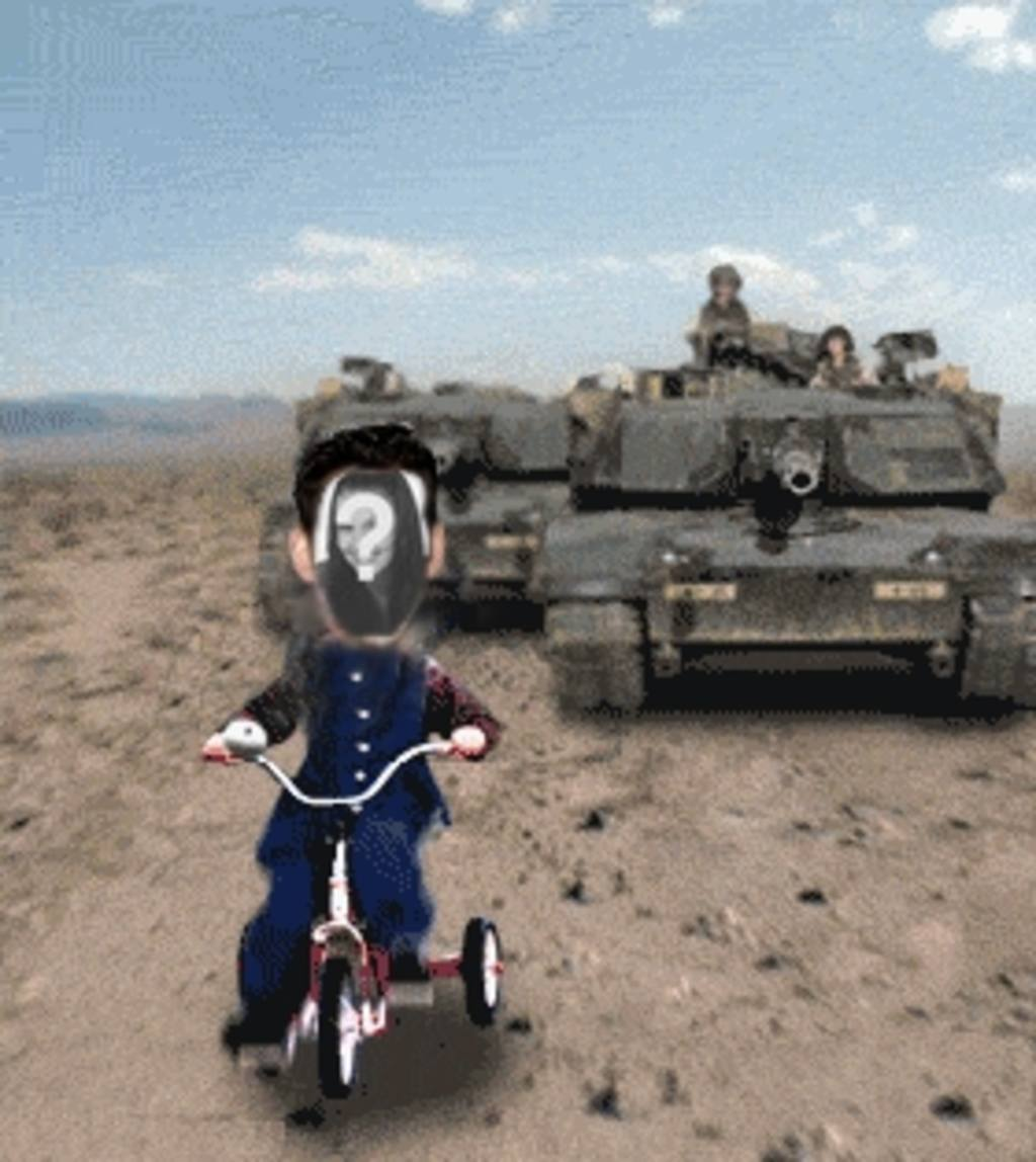 Customized animation Saddam Hussein chased by a tank
