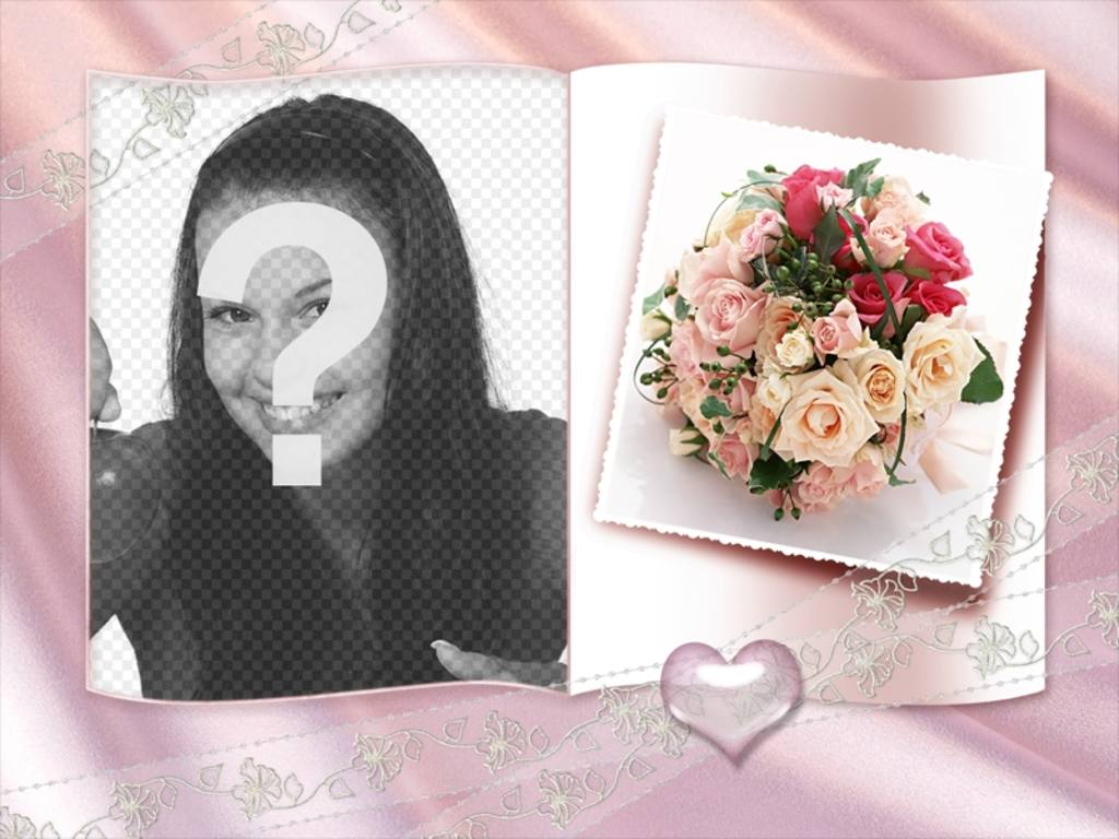 Photo Frame with a book and little heart, roses and ornamental center