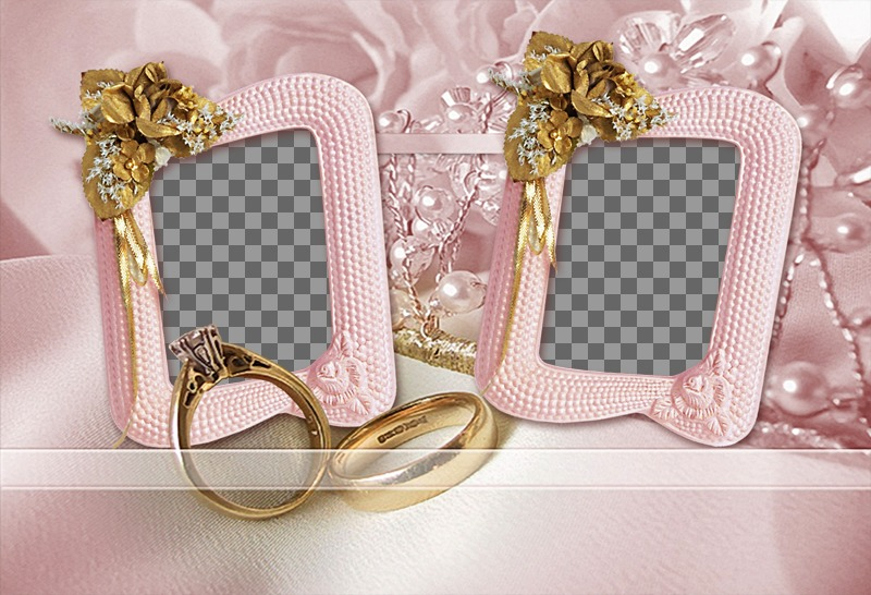 Photo frame for two photos with yellow roses, wedding rings and jewelry