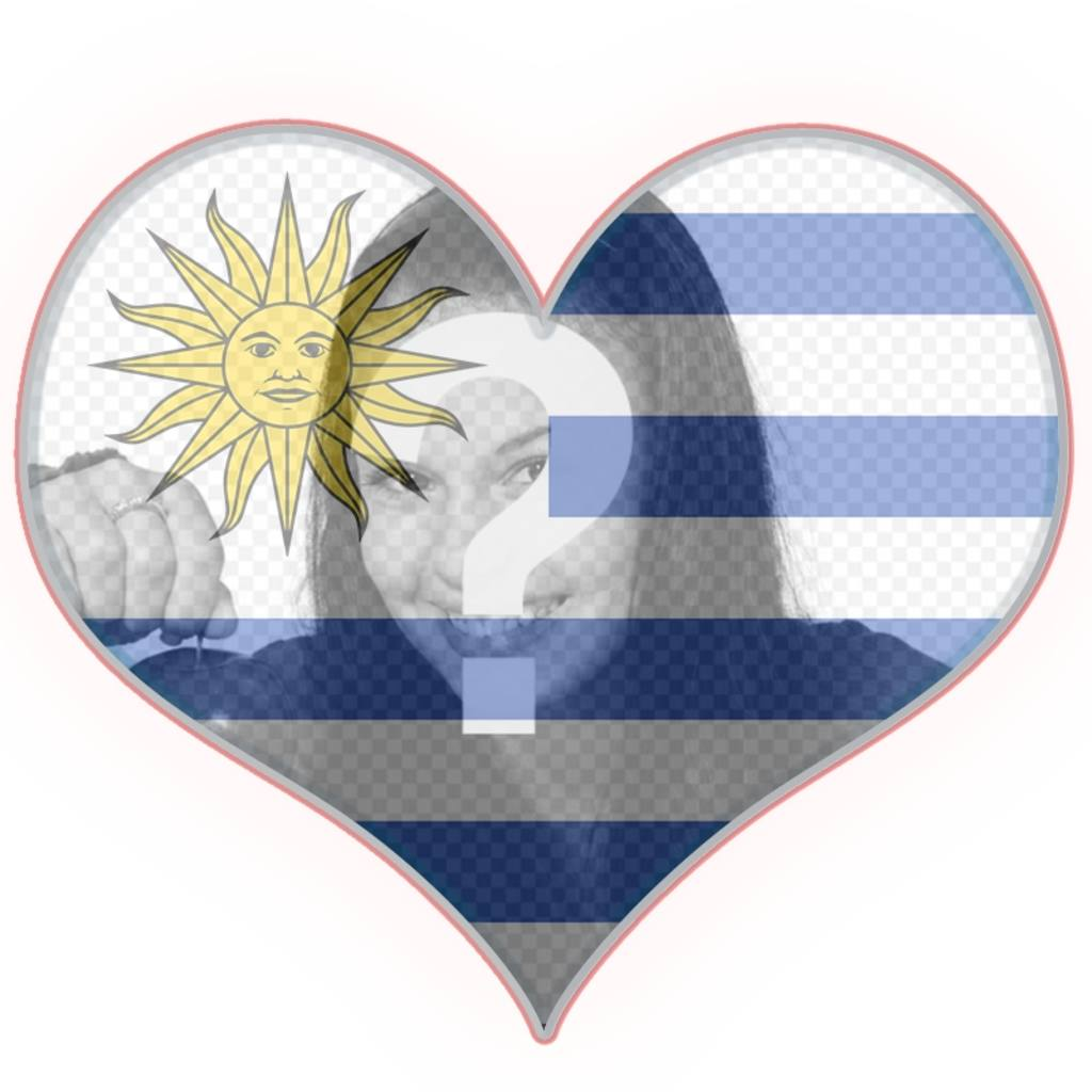 Photomontage with the flag of Uruguay on a heart