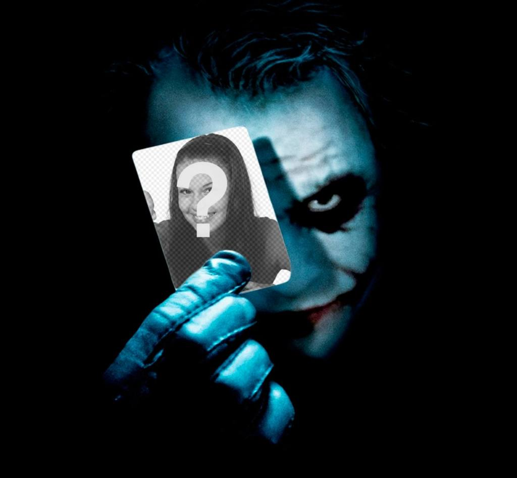 Put your photo on a card that holds the Joker from Batman