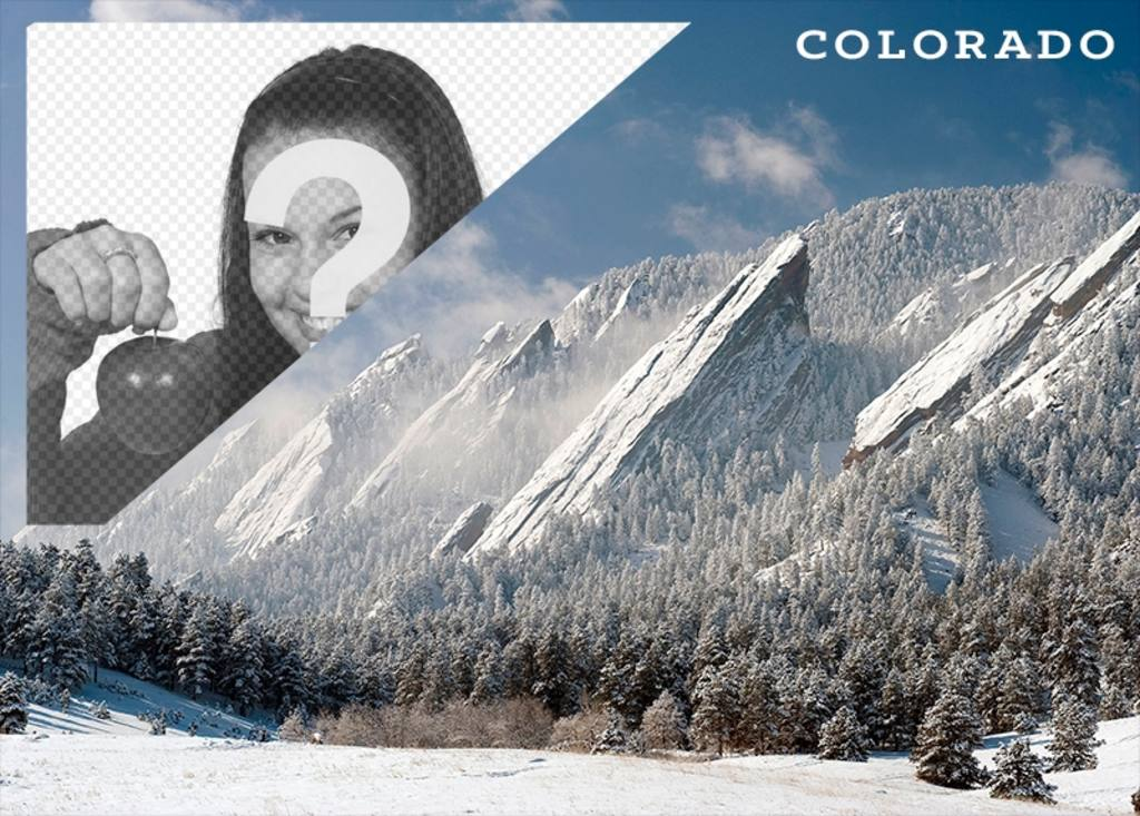 Postcard of a landscape of snowy Denver with your photo