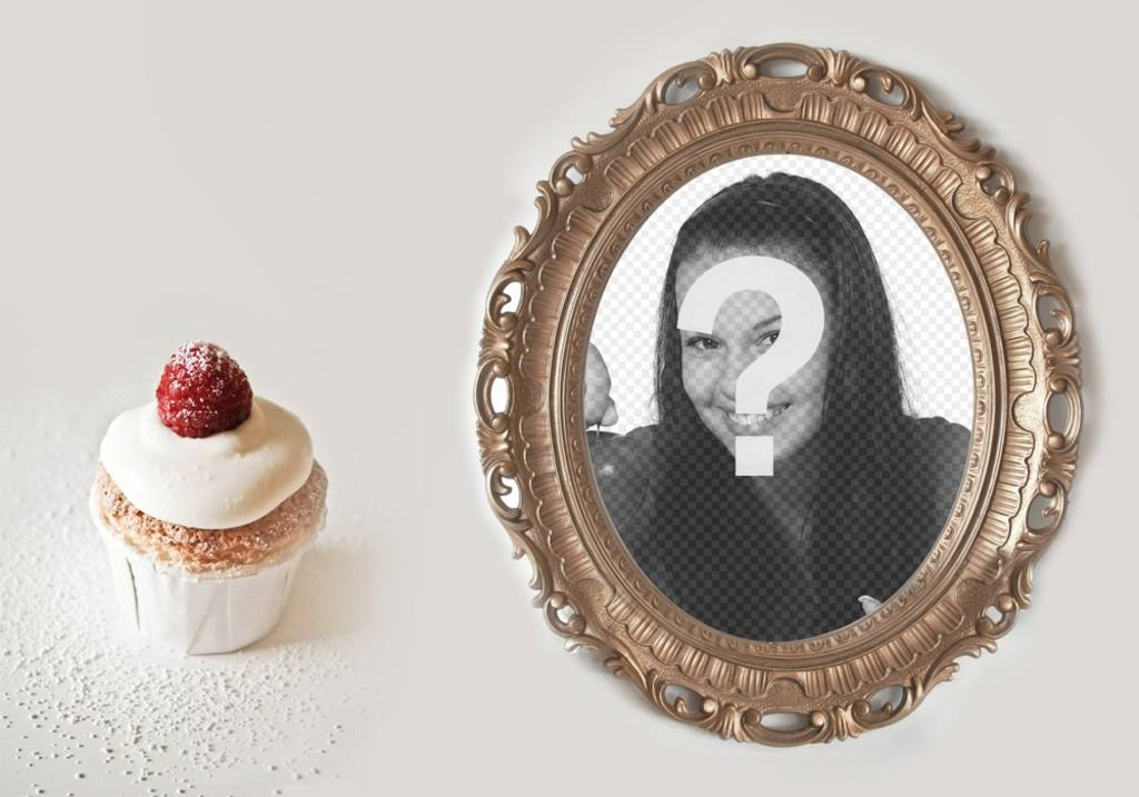 Collage of a golden photo frame with a cupcake