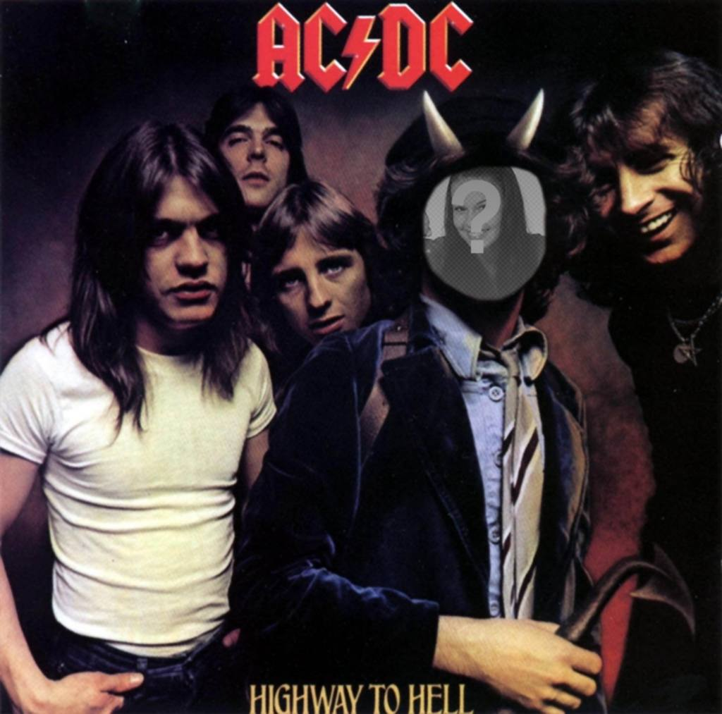 "Photomontage with the cover of Highway To Hell, AC DC, Bon Scott we""ll be with horns"
