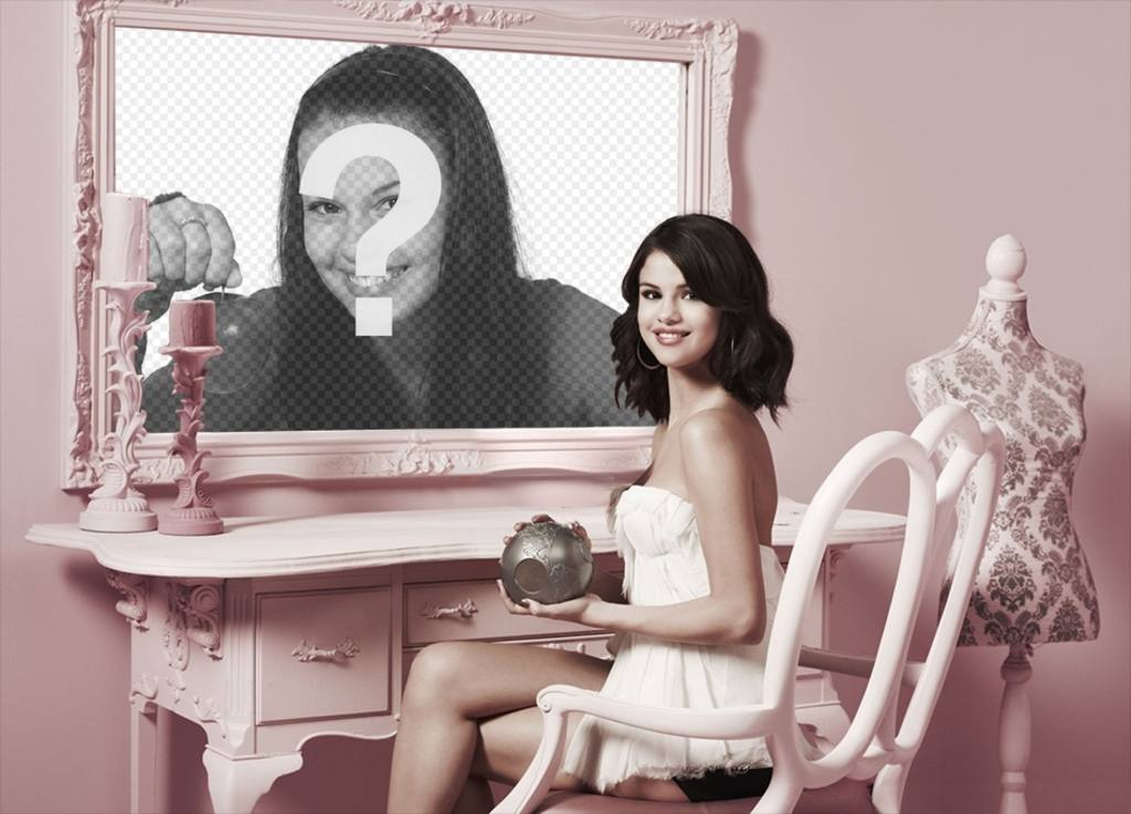 Photomontage with Selena Gomez to put a picture next to her in a mirror