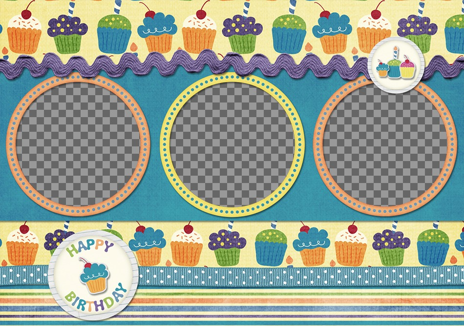 Birthday card for 3 photos with cupcakes