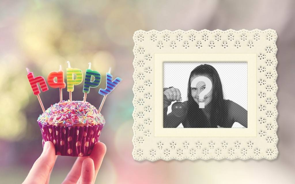 Birthday card with a cupcake and colorful letters with your photo