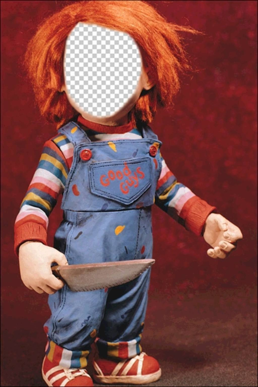 Photomontage of Chucky with a knife to put your face
