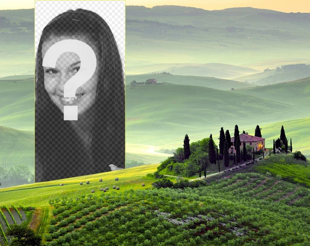 Postcard of a Tuscan landscape to put your photo