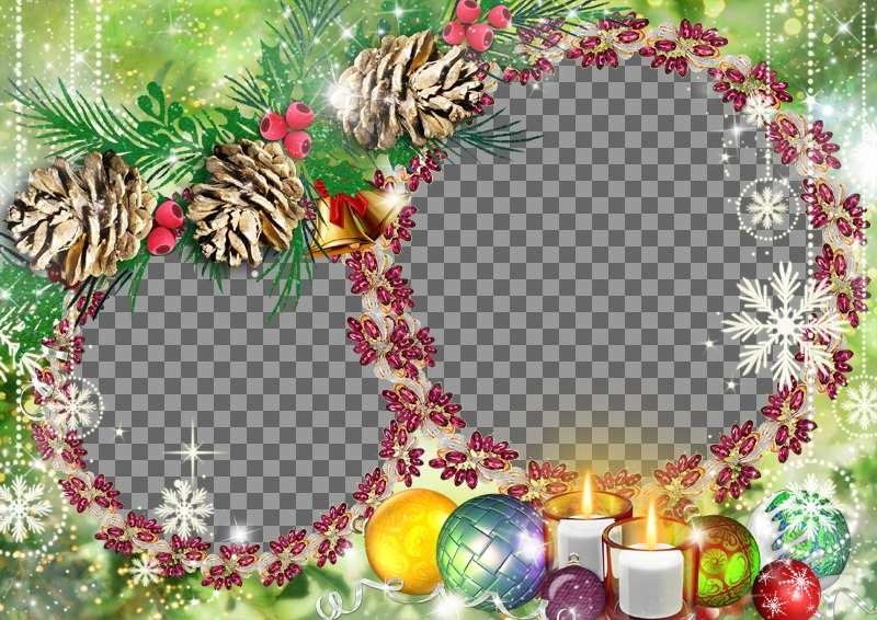 Christmas frame for two photos put on a purple garlands
