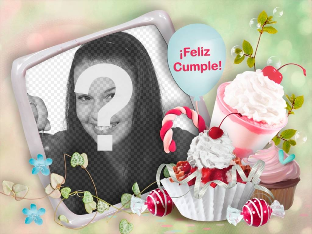 Birthday greeting to personalize with your photo and some ice cream