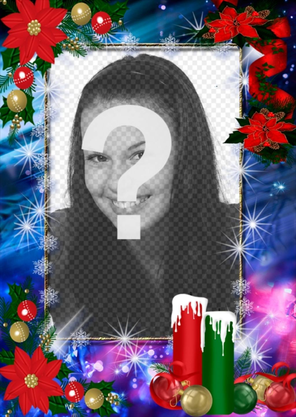Photo frame decorated for Christmas and you can customize with your photo