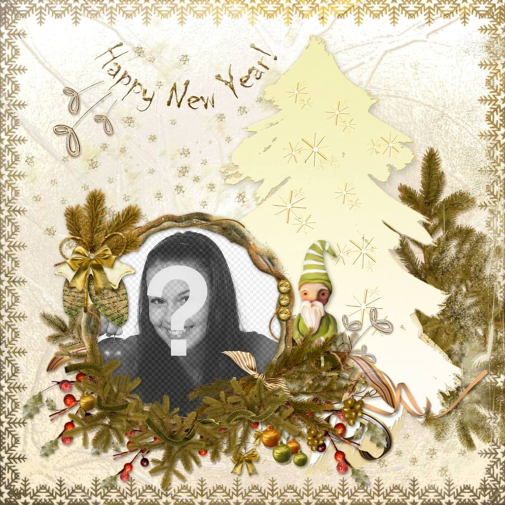 Classic card to edit and the text Happy New Year