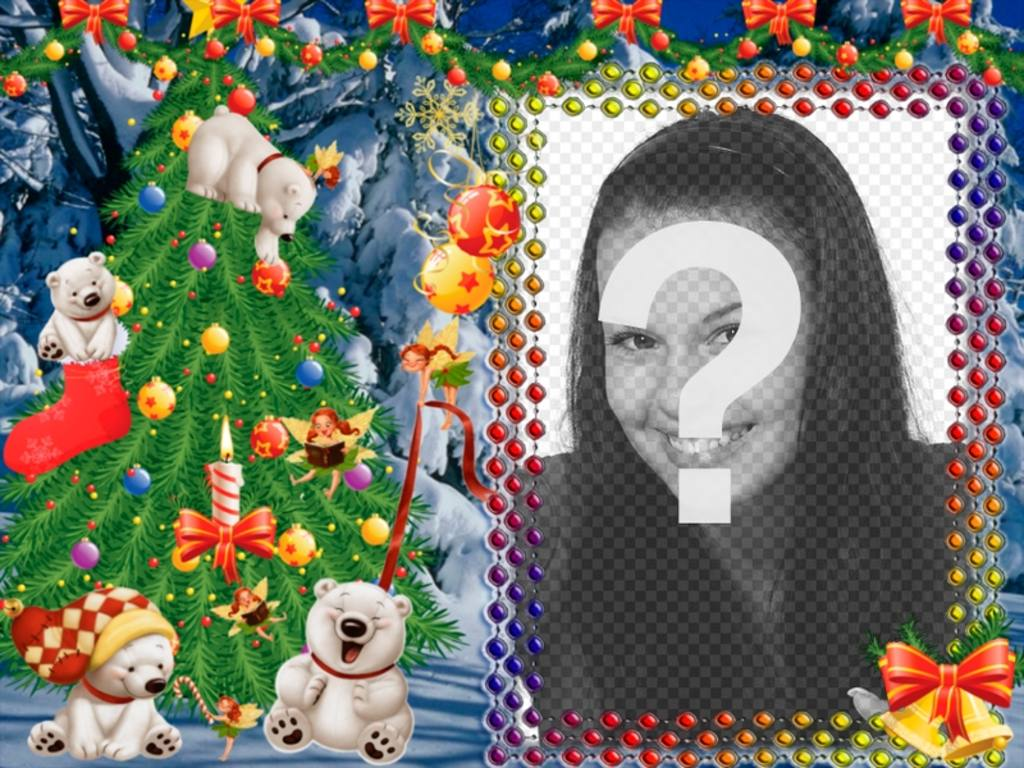 Put your photo on this Christmas frame with panda bears