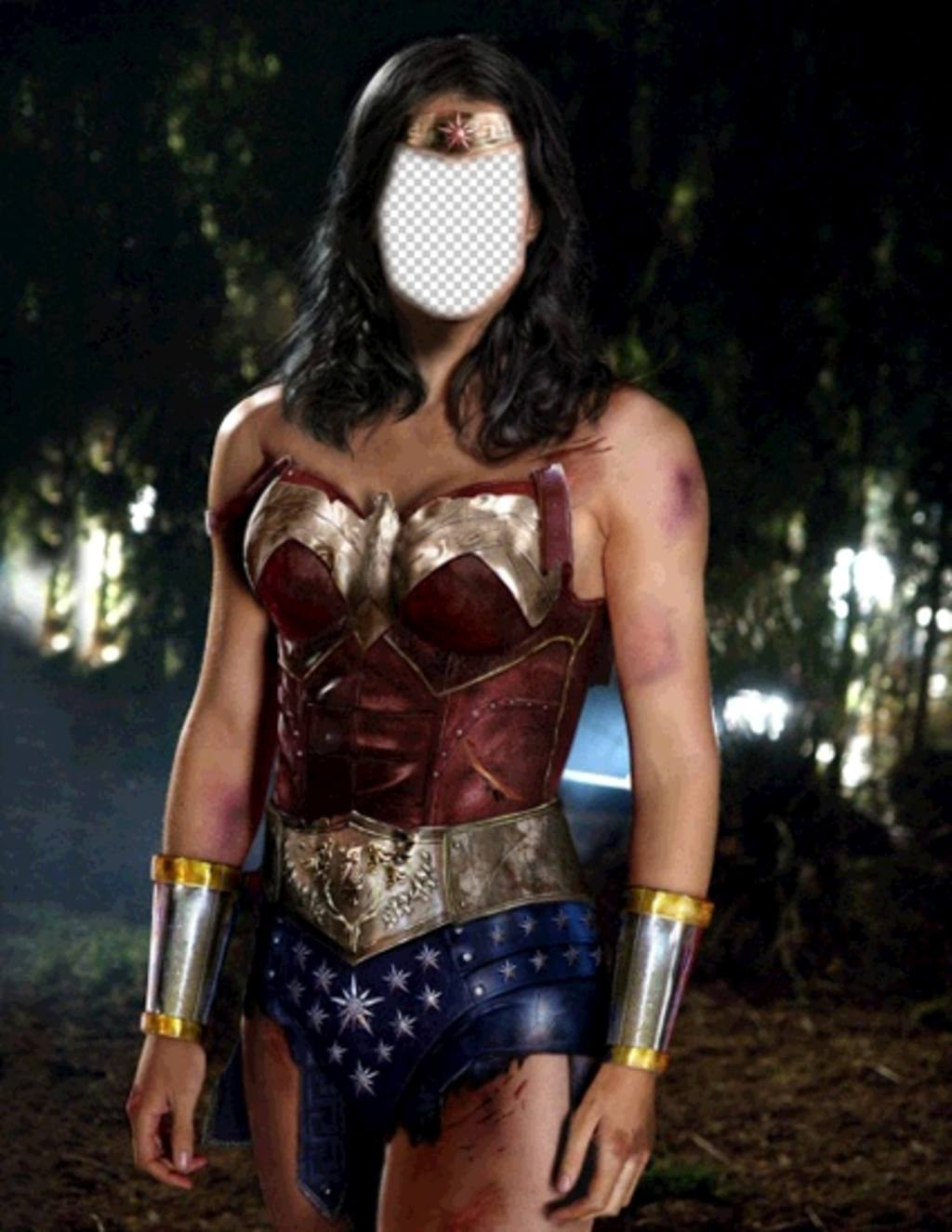 Photomontage to become in Wonder Woman uploading your photo
