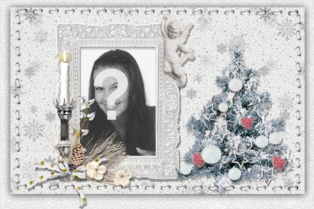 Christmas card to personalize with your photo, a tree and a candle