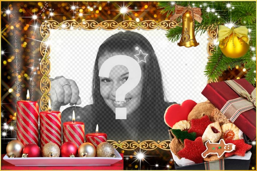Christmas photo frame with four candles and Christmas wreaths