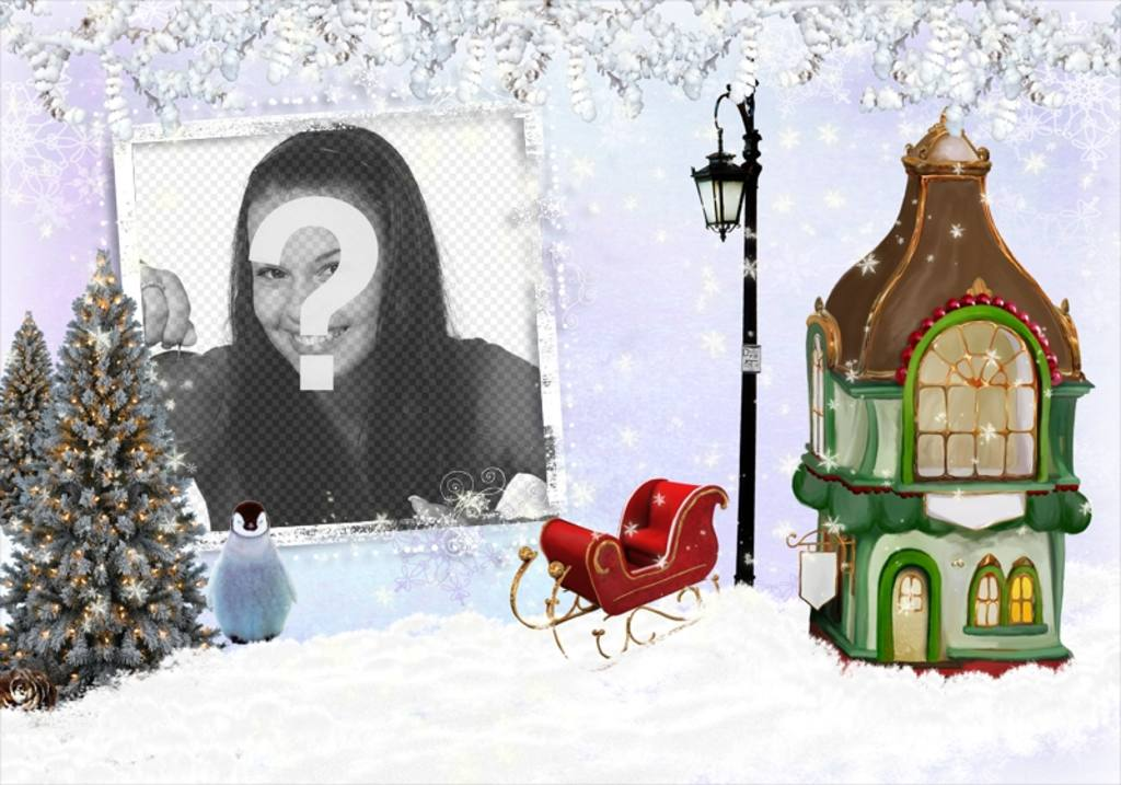 Photomontage Christmas with a photo frame to put your image