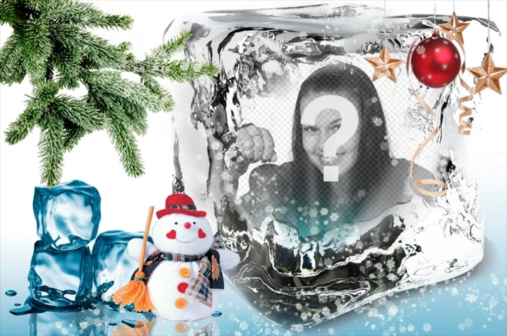 Christmas template to put your photo on an ice cube