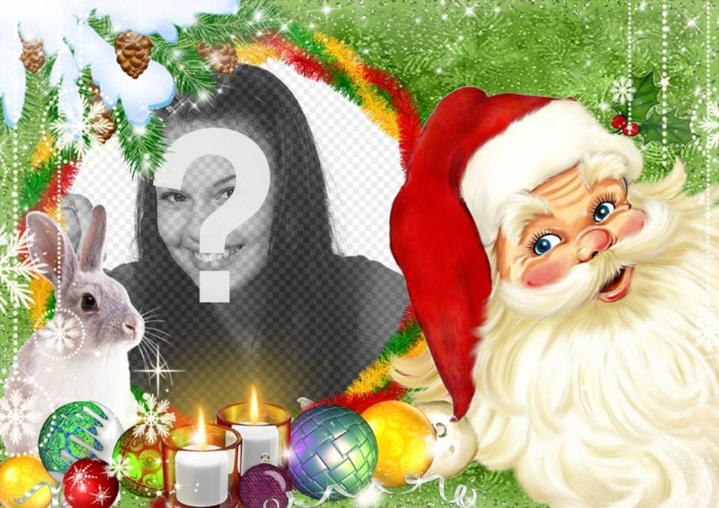 Photomontage with Santa Claus and a bunny surrounded by Christmas balls and candles