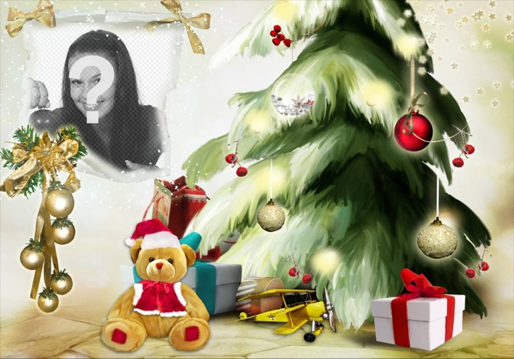 Christmas photomontage with a Christmas tree and bear