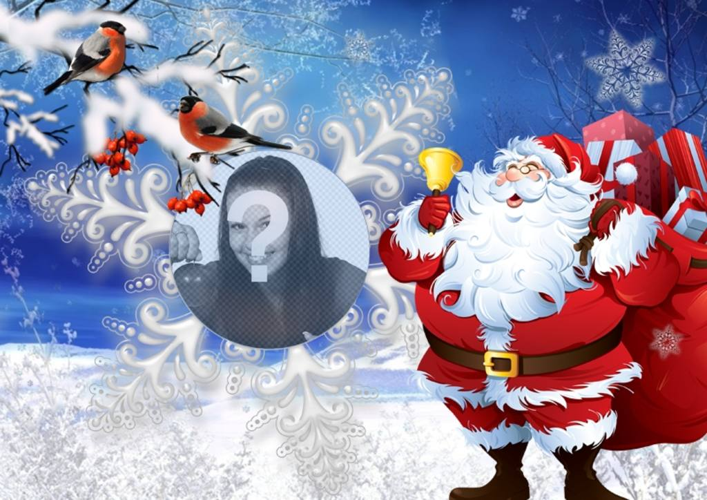 Photo effect with Santa Claus and little birds