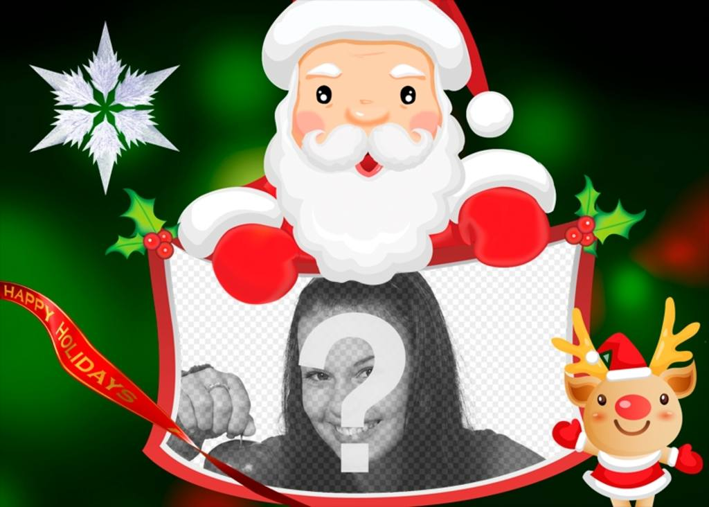 Photomontage with Santa Claus to put your photo with text Happy Holidays