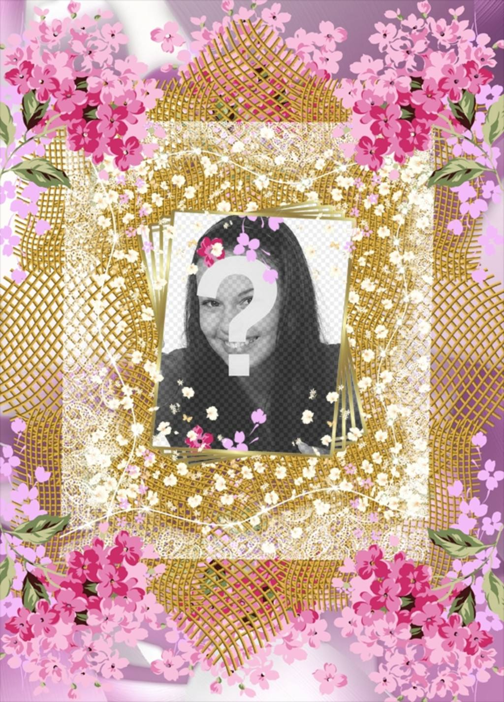 Frame with many flowers to decorate your photos online