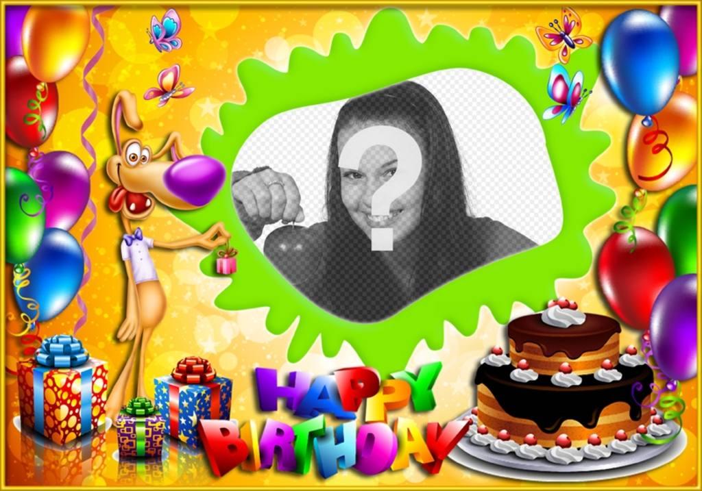 Child photo frame to Happy Birthday
