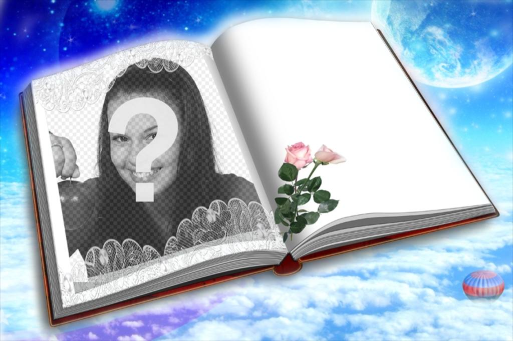 Photomontage to put your photo in a book with two roses