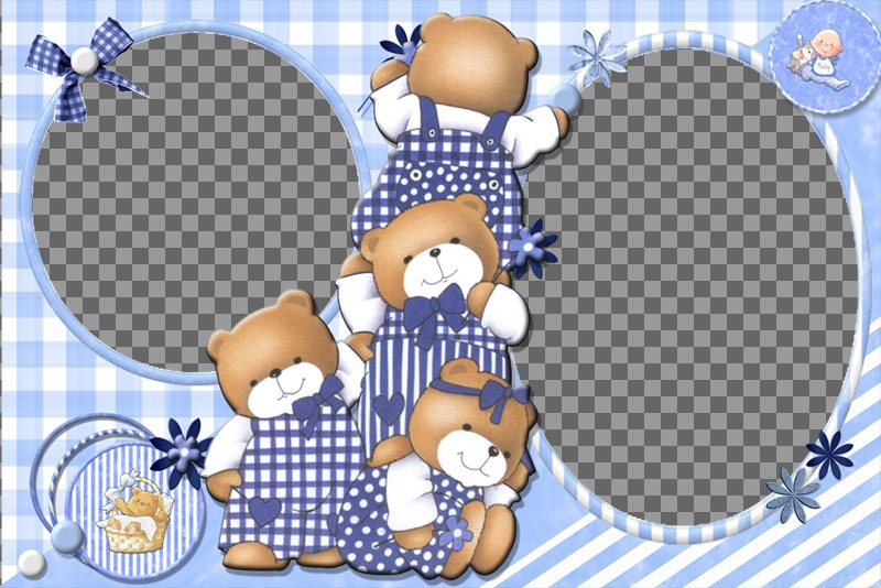 Children collage for customization with 4 bears and two pictures of you