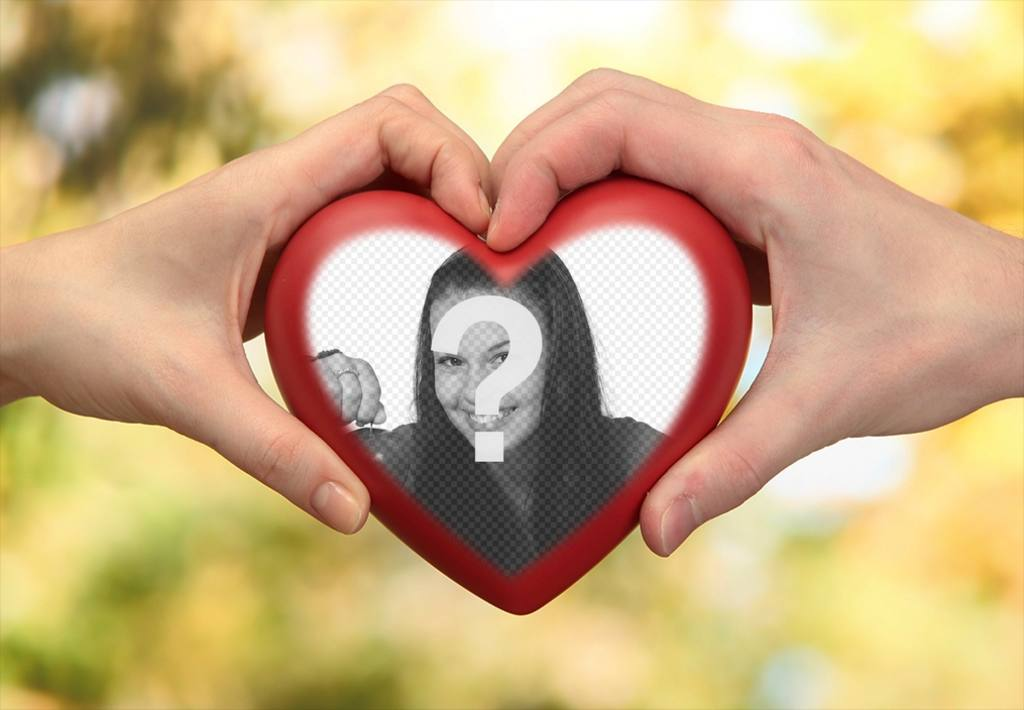 Photomontage of two hands with a heart for your photo
