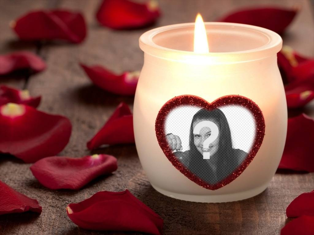 Photo effect of love with a candle and a heart