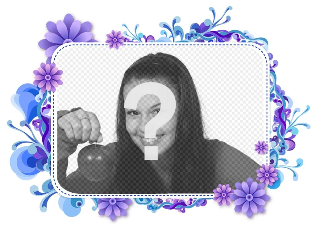 Picture frame for your photo of purple and blue flowers